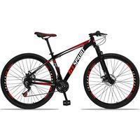 Bicicleta Aro 29 Gt Sprint Mx1 21v Suspensão E Freio A Disco - Preto/vermelho E Branco - 19