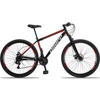 Bicicleta Aro 29 Dropp Sport 21v Suspensão E Freio A Disco - Preto/vermelho E Branco - 19