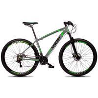 Bicicleta Aro 29 Gt Sprint Volcon 21v Suspensão, Freio Disco - Cinza/verde E Preto - 17´´ - 17´´