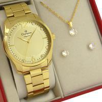 Relógio Feminino Champion Dourado Original 1 ano de garantia com colar e brincos