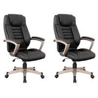 Kit 2 Cadeiras De Escritório Home Office Rainbow Giratória Pu Sintético Preto - Gran Belo
