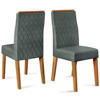 Conjunto 2 Cadeiras New Maia Para Sala De Jantar Carvalho Nobre/suede Chumbo Dj Móveis