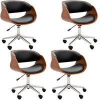 Kit 04 Cadeiras Escritório Office Oga, Base, Giratória, Cromada, Pu Sintético, Preta - Gran Belo