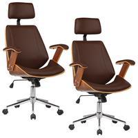 Kit 02 Cadeiras de Escritório Presidente, Pu Sintético, Marrom - Gran Belo