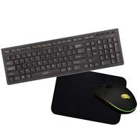 Kit Flat Teclado Flat Preto + Mouse 2400dpi + Mousepad Oex