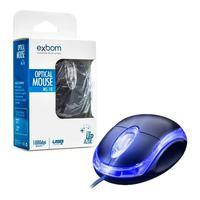 Mouse Optico Exbom USB, 1000DPI, Led Azul - Ms-10