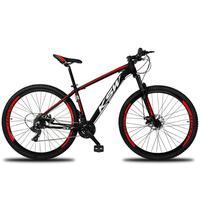 """Bicicleta Aro 29 Ksw 21 Marchas Freios A Disco E Suspensão Cor:preto/vermelho E Brancotamanho Do Quadro:19"""" - 19"""""""