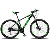 """Bicicleta Aro 29 Ksw 24 Marchas, Freio Hidráulico, Trava E K7,  Cor: preto/verde, Tamanho Do Quadro: 21"""""""
