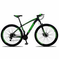"""Bicicleta Aro 29 Ksw 24 Marchas Freios A Disco E Trava Cor:preto/verdetamanho Do Quadro:17"""" - 17"""""""
