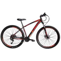 """Bicicleta Aro 29 Ksw 21 Marchas, Freio Hidráulico, Trava E K7, Cor: preto/laranja E Vermelho, Tamanho Do Quadro: 19"""""""