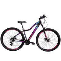 Bicicleta Aro 29 Ksw 24 Marchas Shimano, Freios A Disco E K7 Cor:preto/rosa E Azultamanho Do Quadro:15