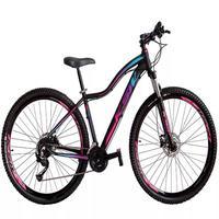 """Bicicleta Aro 29 Ksw 24 V Shimano Freio Hidraulico/trava/k7 Cor:preto/rosa E Azultamanho Do Quadro:15"""" - 15"""""""