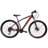 """Bicicleta Aro 29 Ksw 24 Marchas Shimano, Freios A Disco E K7 Cor: preto/laranja E Vermelho, Tamanho Do Quadro:21"""" - 21"""""""