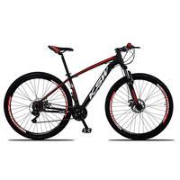 Bicicleta Aro 29 Ksw 24 Vel Shimano Freios Disco E Trava/k7 Cor: preto/vermelho E Branco tamanho Do Quadro: 21pol - 21pol