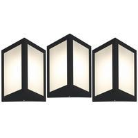 Luminária De Parede Triangular Preto Kit Com 3