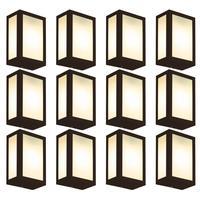 Luminária De Parede Retangular Marrom Kit Com 12